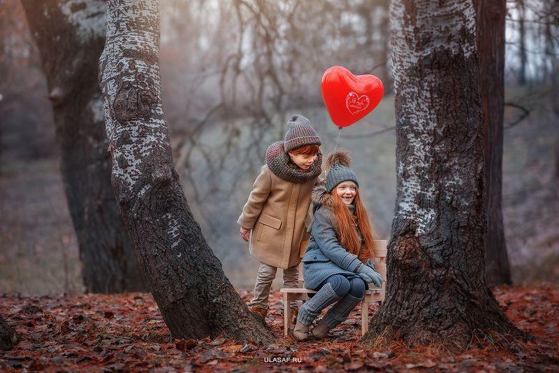 портрет, осень, девочка, мальчик, boy, girl, autumn, лес, друзья, солнышко, лучи, sun, happy, happiness, сказка, волшебство, magik, рыжие, рыжики, red, зима, winter Love is...photo preview