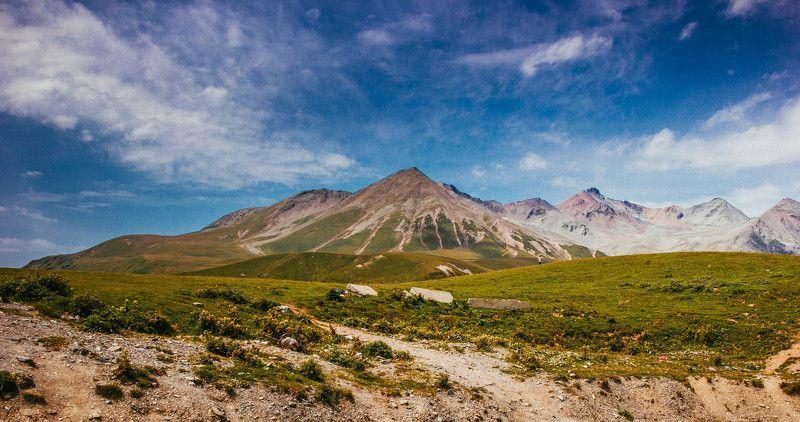 горы, солнце, солнечный свет, лето, пейзаж, природа, высота Горы Кавказаphoto preview