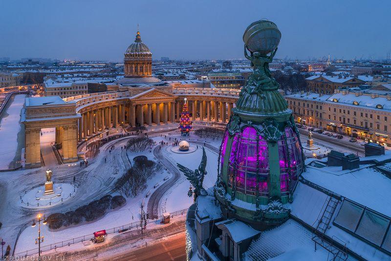 россия, петербург, санкт-петербург, зима, утро, рассвет Дом компании «Зингер»photo preview