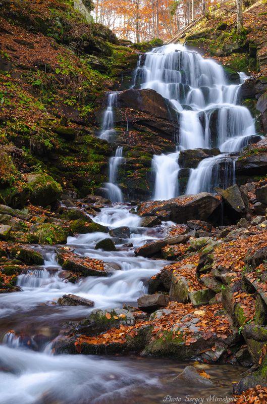 карпаты, горы,водопад , листья, камни, красиво, осень, боржава, лес, деревья, путешествие, украина. Водопад Шыпотphoto preview
