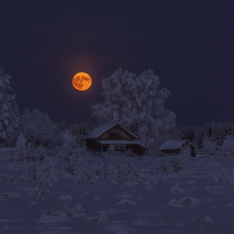 moon, village, russia, winter, зима, деревня, полнолуние, восход луны, лес ВОСХОД ЛУНЫphoto preview