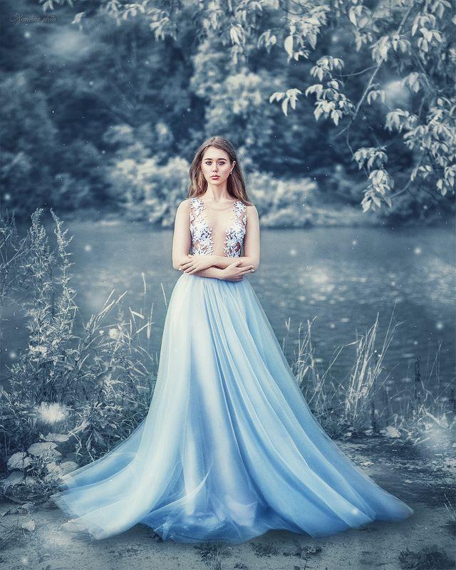 девушка, портрет, синий, природа, река, осень, весна, зима, платье, винтаж, girl, portrait, vintage, autumn, winter, spring, blue, river, nature, dress photo preview