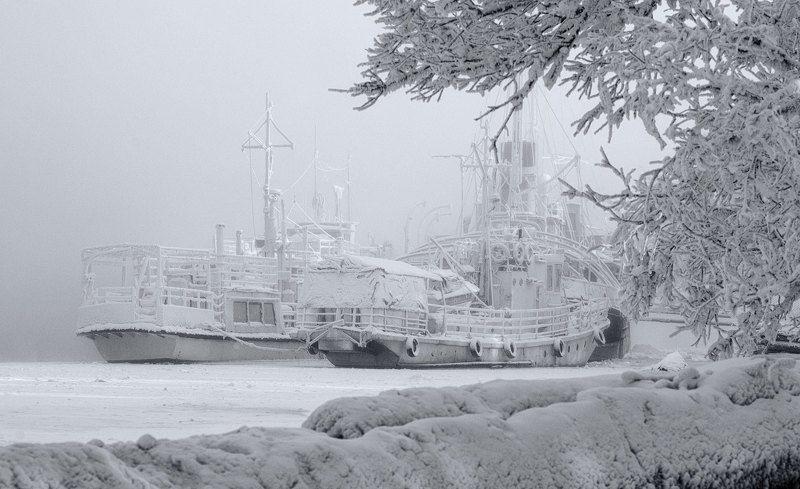 зима корабли причал Зимний причал.photo preview