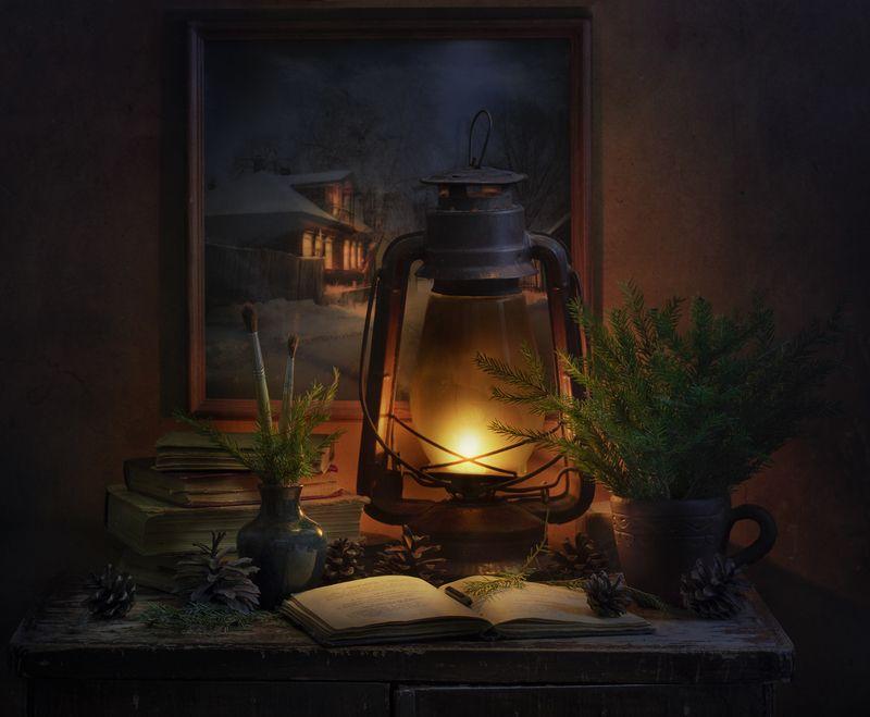 натюрморт,старая лампа,декабрь,вечер Декабрьphoto preview