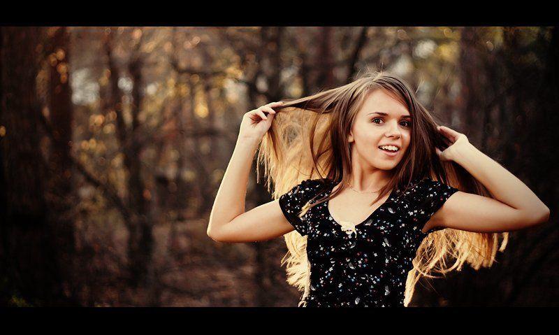 девушка, осень, улыбка Улыбчивая осеньphoto preview
