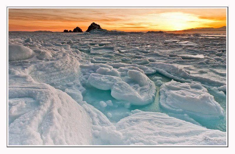 магадан, охотское море, лед, январь, снег, ветер, море, рассвет, колыма, солнце, скалы, прибой Три брата в январе....photo preview
