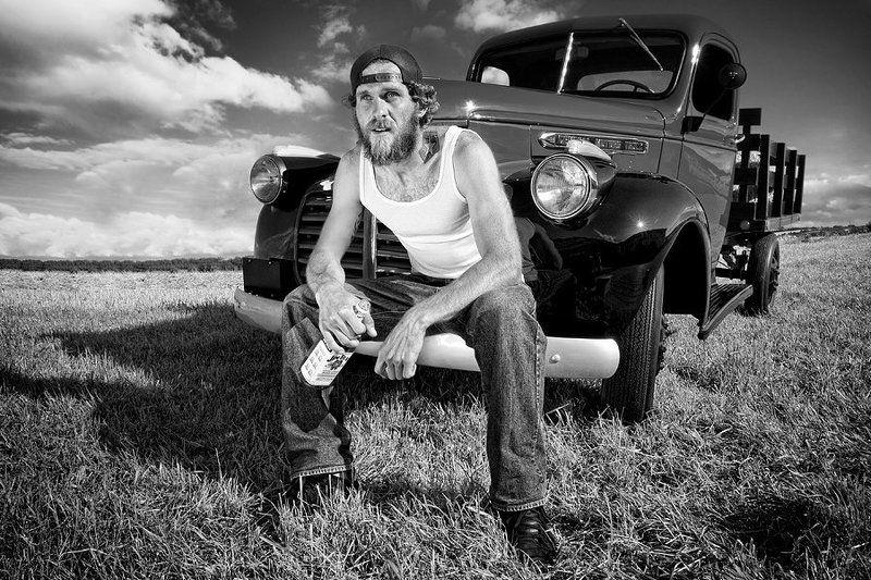 man, car, gmc, vintage, farmer GMCphoto preview
