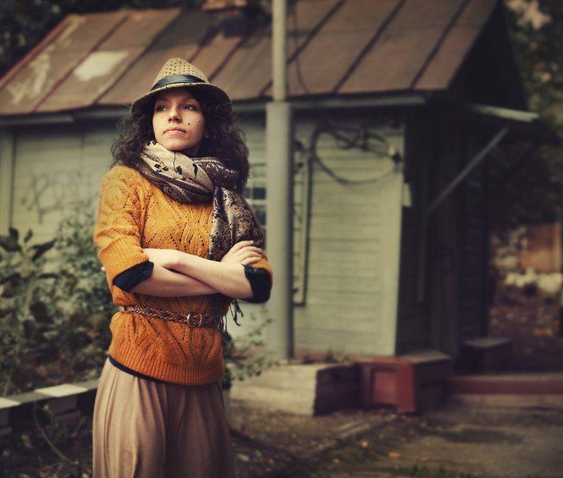 город, ретро, девушка, портрет Аннаphoto preview