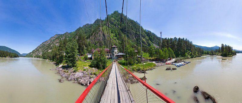 вода, мост, горы, лес Мост через р.Катуньphoto preview