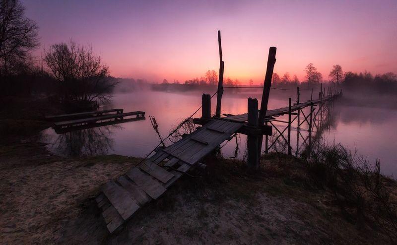 river, morning, sunrise, bridge, nature, sun, Monkey Bridge, Polandphoto preview