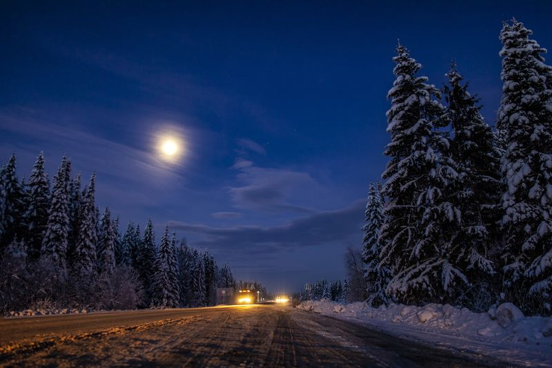 пермский край, зима, снег, луна, лунный пейзаж Лунная ночьphoto preview