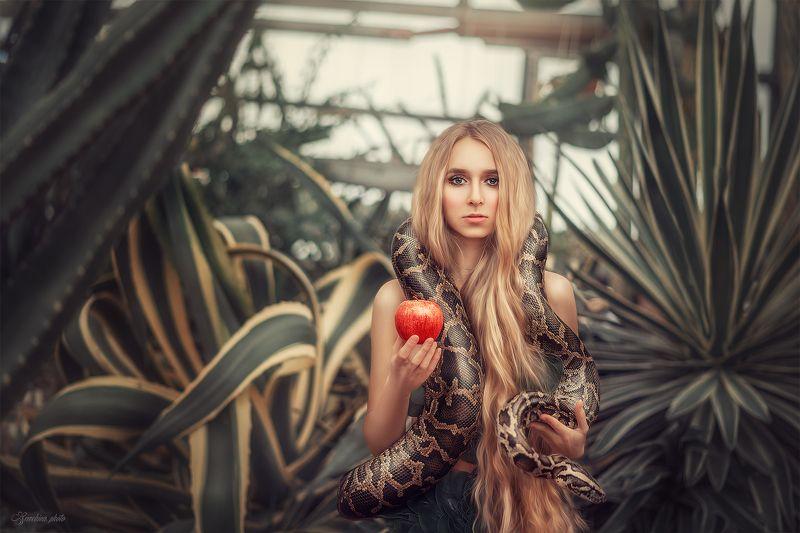девушка, портрет, райский сад, эдем, яблоко, красный, винтаж, змея, girl, portrait, snake, edem, apple photo preview