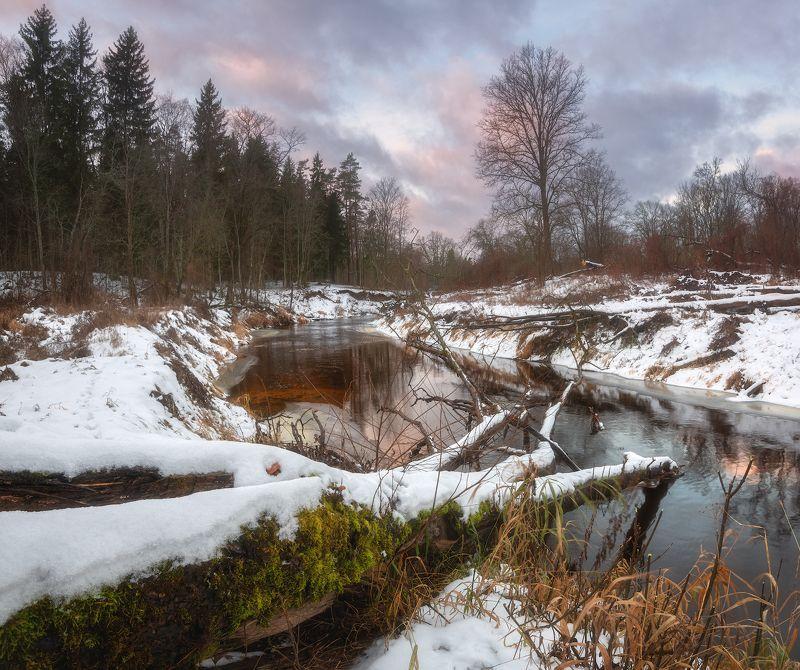 пейзаж зима снег оттепель река латвия Оттепель на утро после Рождестваphoto preview