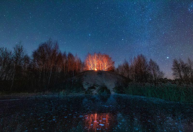 пейзаж, звезды, лед, зима На льдуphoto preview