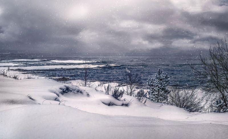 открытка,поздравление,зима,снег,озеро С Новым годом,друзья!photo preview