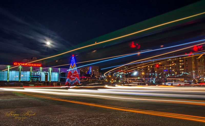 вечер, город, луна, огни, накануне нового года Предновогодняя кутерьмаphoto preview