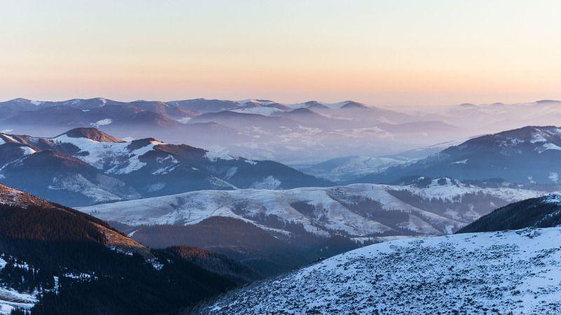 зима, Карпати, Карпаты, сумерки, Черногора, Верховина Верховинская дальphoto preview