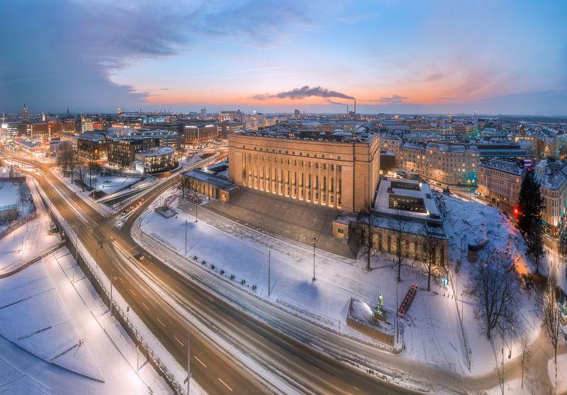 Аэросъемка, архитектура, город Эдускунта. здание Парламента Финляндииphoto preview