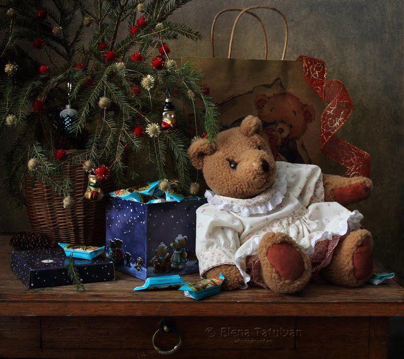 куклы, игрушки, новый год, рождество, мишка, ёлка, конфеты, сон, зайчик, колокольчик, украшения Новогодние открыткиphoto preview