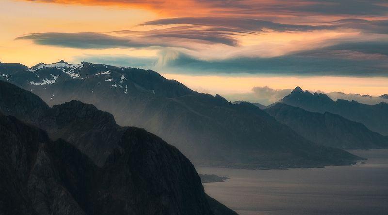 lofoten, landscape, sunset, norway, lofotenislands, reinebringen Swirl of cloudsphoto preview