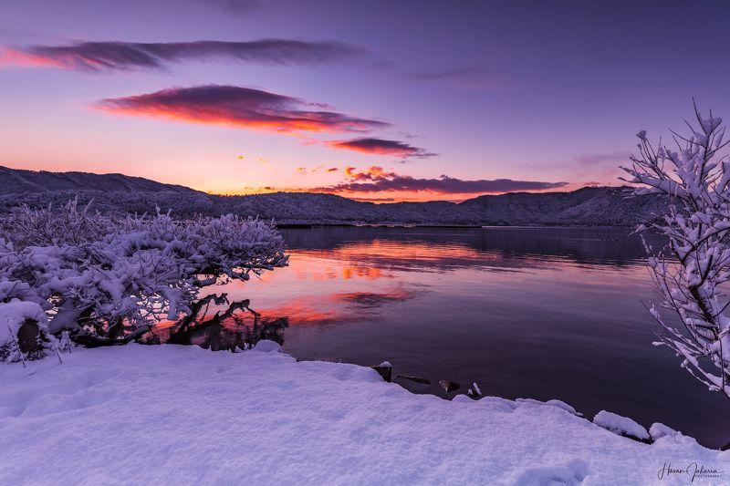 winter snow morning lake landscape shiga japan Winter Morningphoto preview