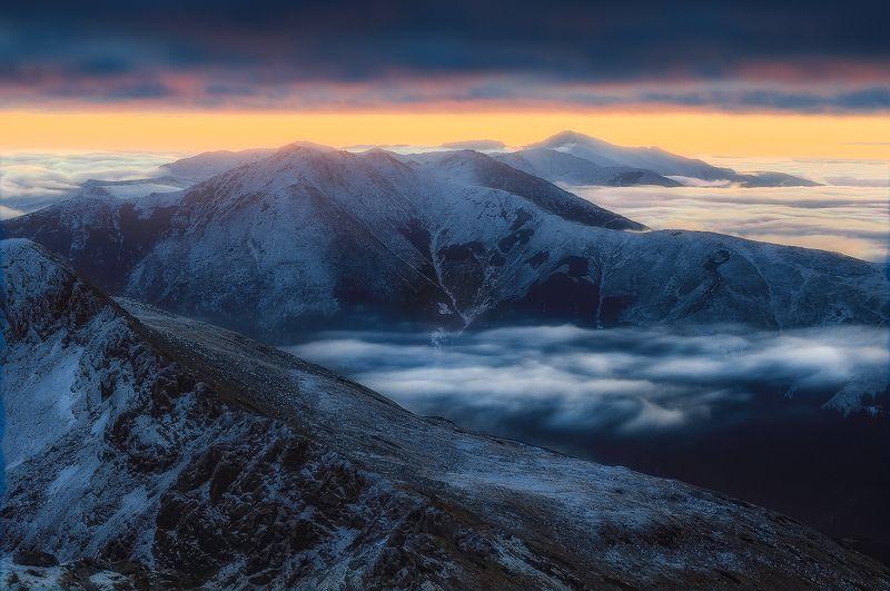 rodnei, romania, landscape, sunset, mountain, winter Floatingphoto preview