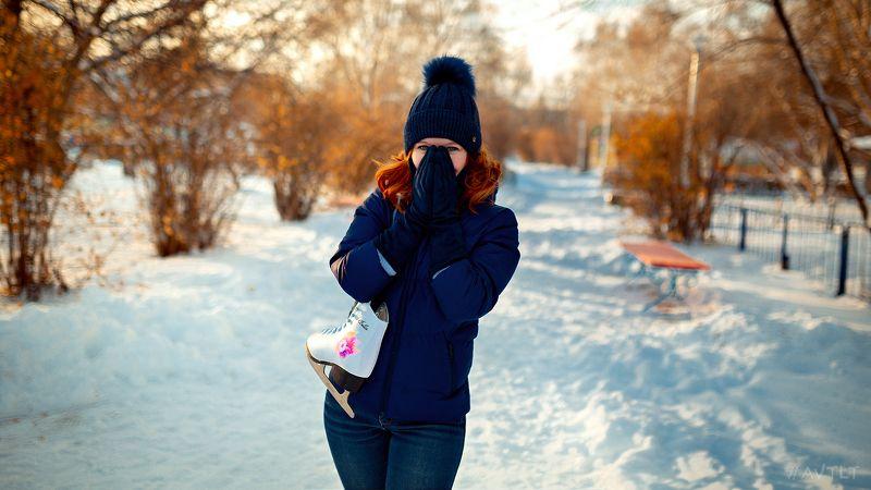 зимнее фото, морозный день, морозно,на каток, фигуристка, фигурное катание, уличный портрет, уличное фото Аннаphoto preview