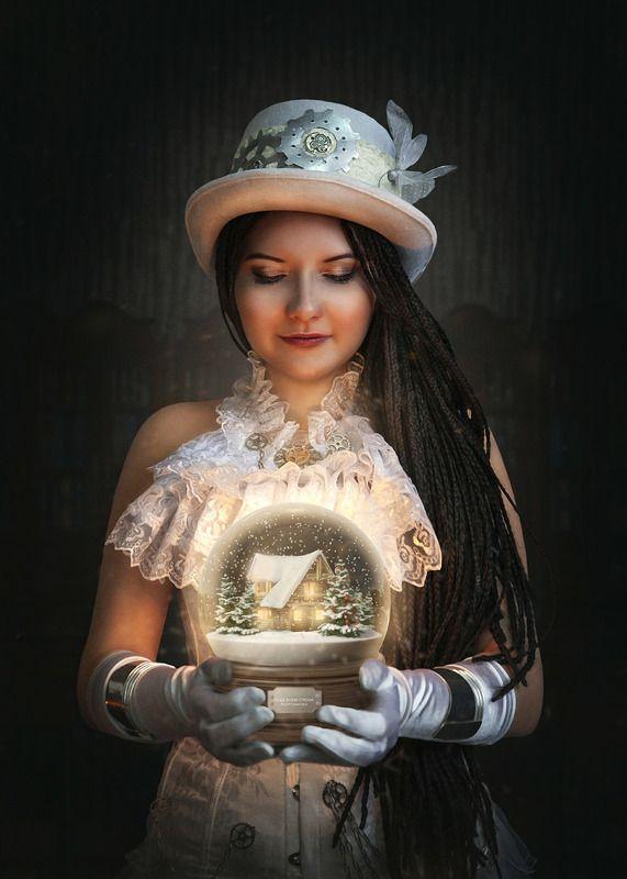 фото в образе, сказка, арт фото, steampunk girl, стимпанк, шляпа, новогодний шар, снежный шар, фотоарт Новогоднееphoto preview