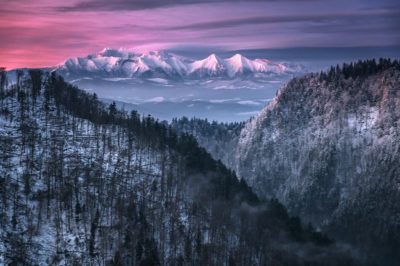 mountains, poland, slovakia, tatry, pieniny, light, sunrise, sun, light, landscape, hills, warm, winter, cold, colors, Scarletphoto preview