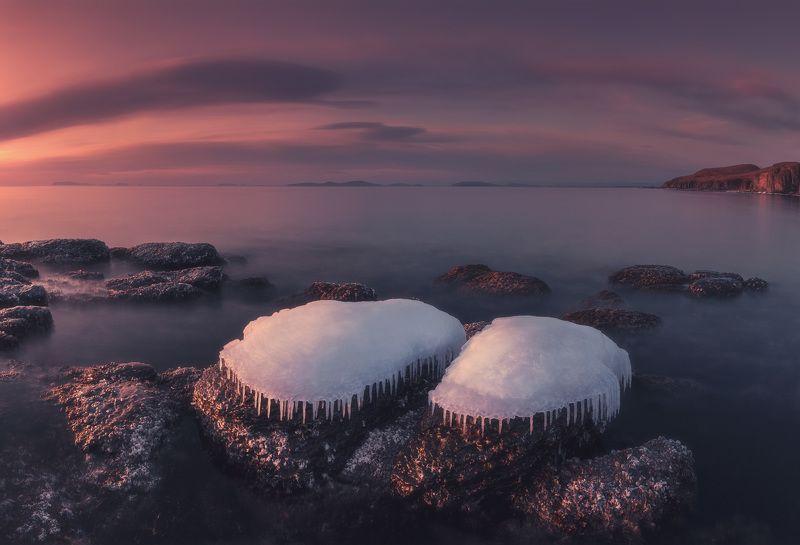 зима, море, камни, лёд, утро ***photo preview