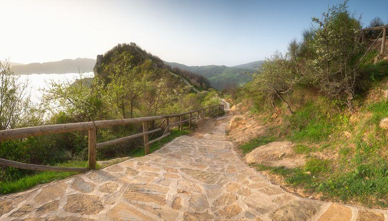 италия пейзаж панорама рассвет  Тёплое итальянское утроphoto preview
