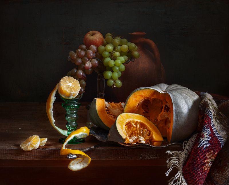 натюрморт, still life, тыква. виноград. лимон, арт, картина, евгений корниенко Натюрморт с тыквой и лимономphoto preview