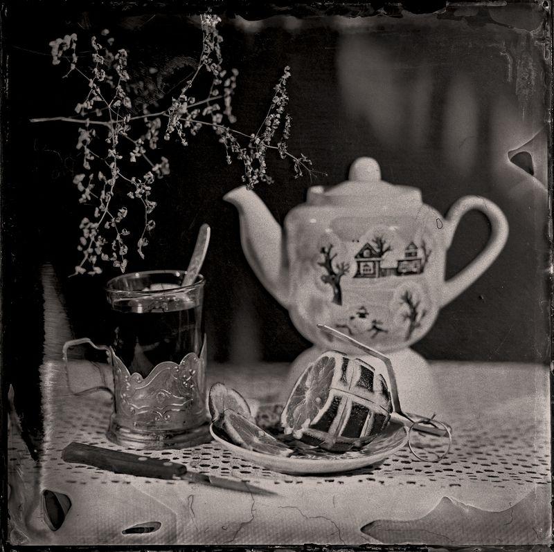Чайная, натюрморт, лимон, лимонка, чай, чайник,амбротип, амбротипия Чайная с лимонкой.photo preview