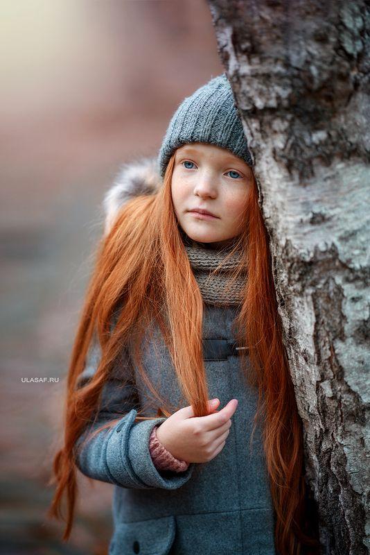 портрет, девочка, girl, лес, сказка, волшебство, magik, рыжая, рыжик, red, зима, winter, грусть, береза Катенькаphoto preview