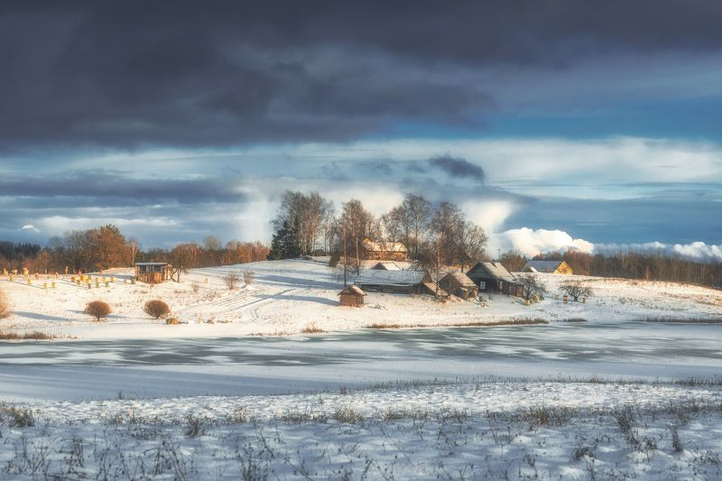 landscape,winter,snow,clouds,зима,хутор,пейзаж Зима в Райполеphoto preview