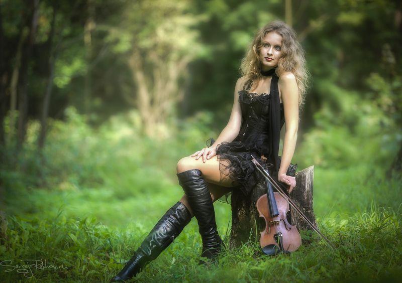 девушка, скрипка, лес, портрет, portrait, rekhov Полинаphoto preview