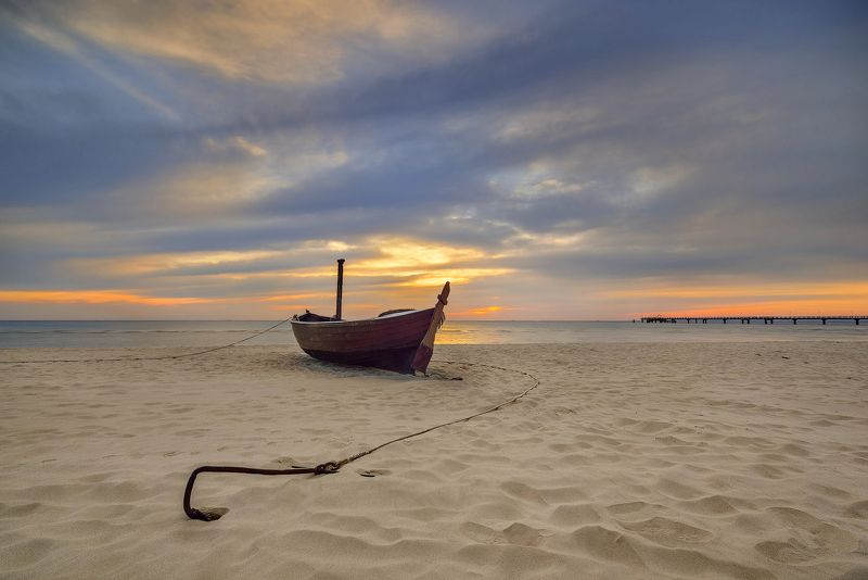 boat, beach, sea Landscape with a boatphoto preview