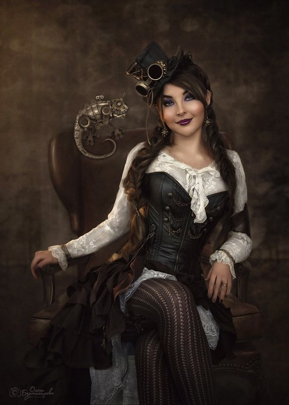 фото в образе, сказка, арт фото, steampunk girl, стимпанк, шляпа, хамелеон, темный фон Steampunk girl and her petphoto preview