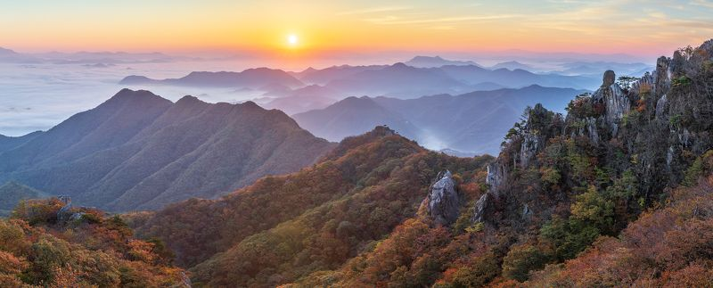 mountains, fall, korea, rock formation, layer, sunrise Autumn of daedunsan ridgephoto preview