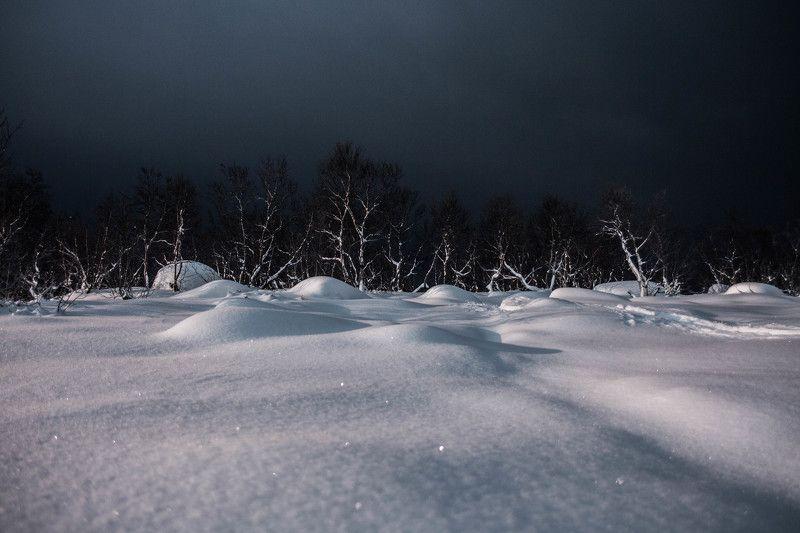 ночь, облачно, деревья, сопки, пейзаж, снег, зима В ночиphoto preview