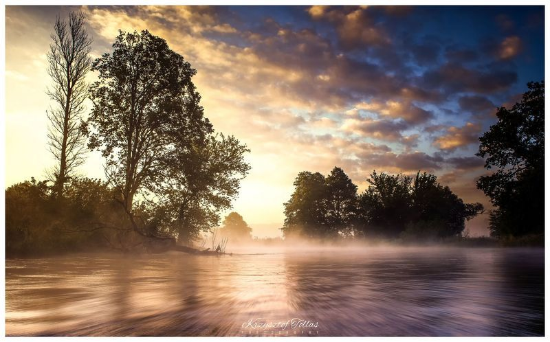 river,gwda,landscape,fog,clouds,water,light,nature,summer,dawn,sunrise,trees,mist,nikon, In search of peace and quietphoto preview