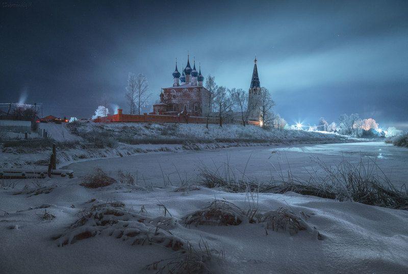 дунилово, ивановская область, ночь, дымка, свет, село, храм Сияниеphoto preview