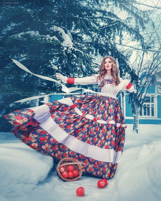 девушка, портрет, русский стиль, винтаж, зима, платье photo preview