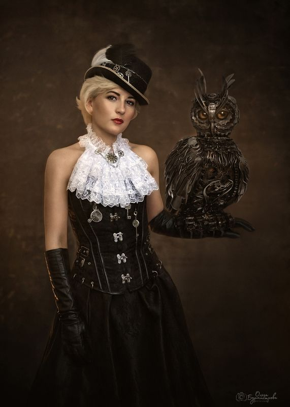 фото в образе, сказка, арт фото, steampunk girl, стимпанк, шляпа, гоглы, дама с птицей, темный фон, фотоарт Steampunk girl and her petphoto preview