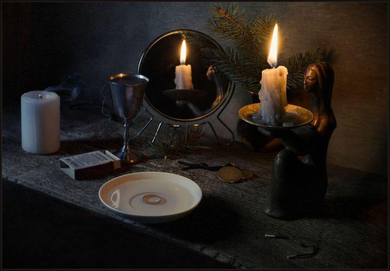 гадание, свеча, зеркало, кольцо, рождество, натюрморт ***photo preview