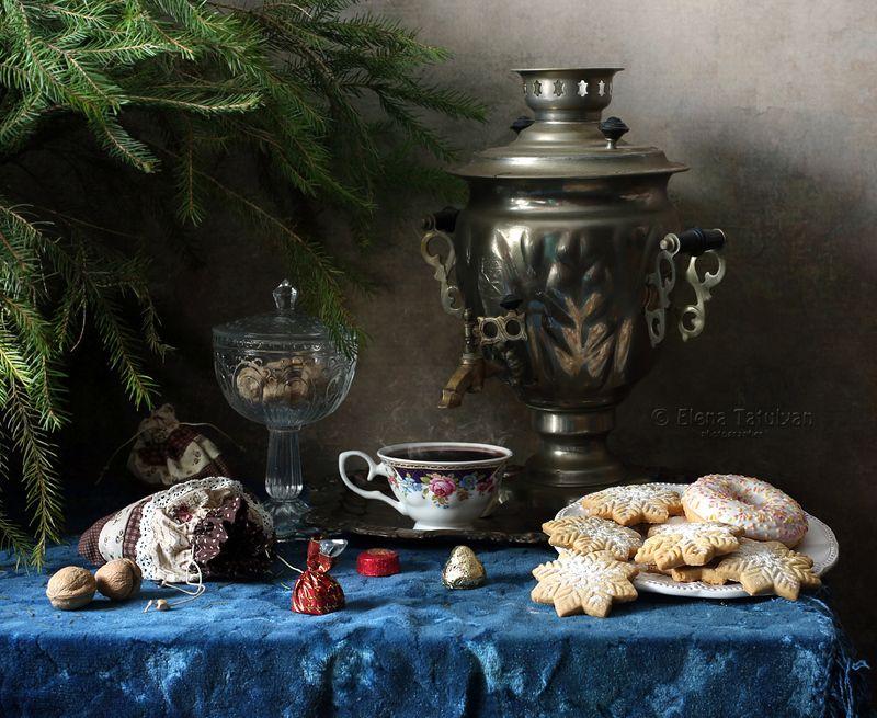 новый год, рождество, самовар, печенье, уют, дом, елка, конфеты, чай, сахар, орехи С Рождеством!photo preview