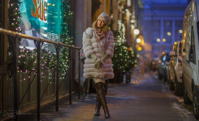 санкт-петербург, модель, прогулка, вечер, зима, витрина, свет, rekhov Вечерняя прогулкаphoto preview