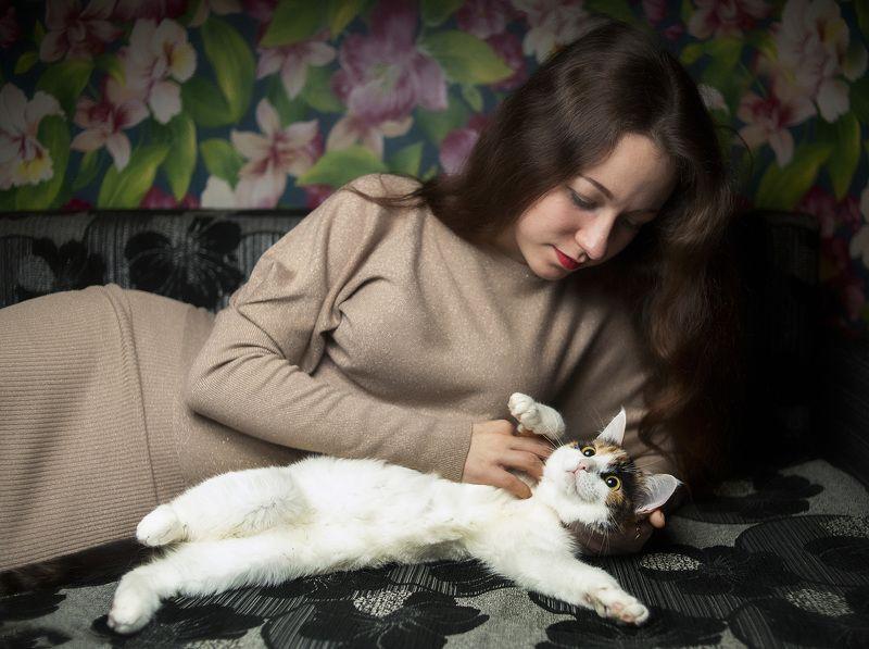 кошка, девушка, друзья Мы друзьяphoto preview