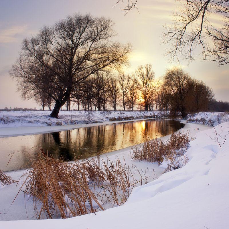 зима, река, закат, снег, winter, river, sunset, snow Зимний вечер на рекеphoto preview