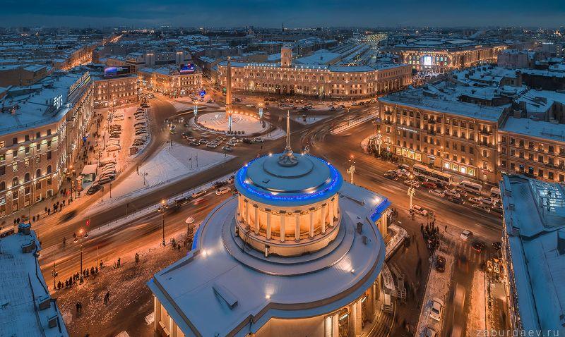 россия, петербург, санкт-петербург, вечер, зима, новый год, площадь, дрон, квадрокоптер Площадь Восстания и Московский вокзалphoto preview